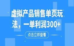 虚拟产品销售单页玩法,一单利润300+