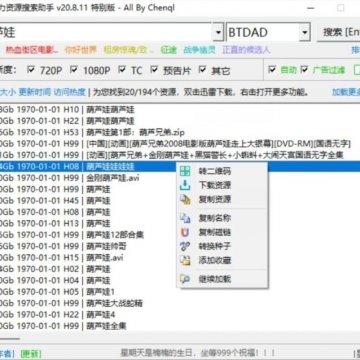 磁力资源搜索助手v20.08.11免安装版,功能十分强大的资源搜索神器